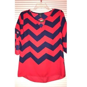 red and navy blue blouse